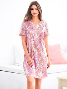 Charmor - Nachthemd met kwartlange mouwen en V-hals