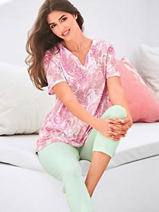 Charmor - Pyjama met V-hals en korte mouwen
