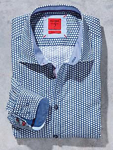 Olymp - Overhemd met minimal-dessin en contrastbeleg