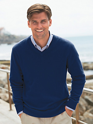 Peter Hahn - Pullover met V-hals van 100% kasjmier