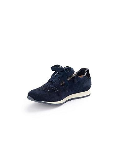 Hassia - Les sneakers à lacets et zips en cuir velours